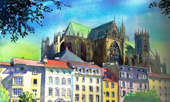 Cathédrale Metz en soirée