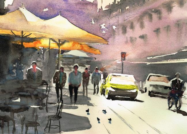 Rue avec parasols